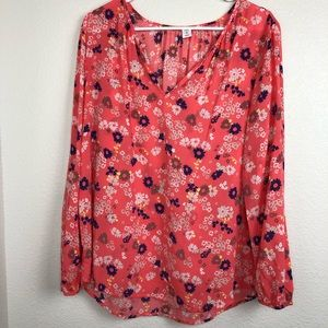 Old navy long sleeve pink floral blouse